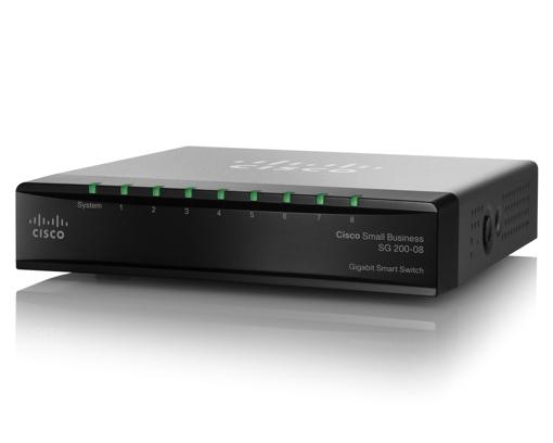 Picture of CISCO 8 Port Gigabit SG200-08P (SLM2008PT) Smart Switch